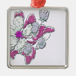 Ornement Carré Argenté Dessin floral