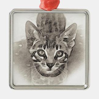 Ornement Carré Argenté Dessin mignon de chaton du Bengale