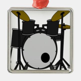 Ornement Carré Argenté Dessin réglé de tambour