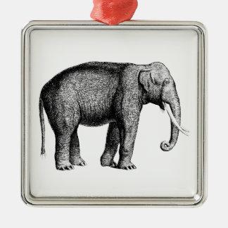 Ornement Carré Argenté Dessin vintage d'éléphant