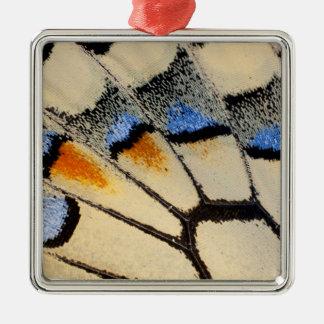 Ornement Carré Argenté Détail crème d'aile de papillon de couleur