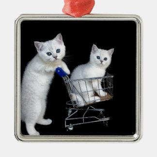 Ornement Carré Argenté Deux chatons blancs avec le caddie sur black.JPG