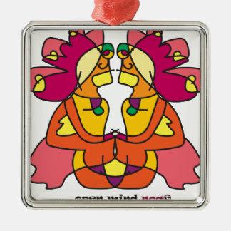Ornement Carré Argenté deux Indiens s'asseyant avec un lion coloré