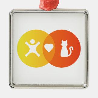 Ornement Carré Argenté Diagramme de Venn de chats de coeur de personnes
