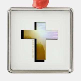 Ornement Carré Argenté Dieu aime tous