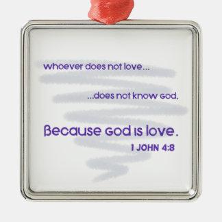 Ornement Carré Argenté Dieu est amour