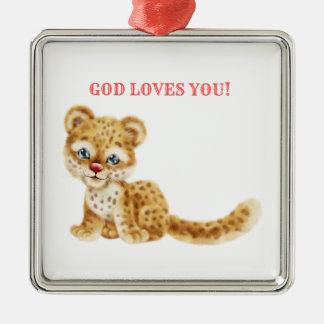 Ornement Carré Argenté Dieu vous aime bébé sauvage de guépard de jungle