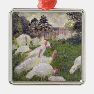 Ornement Carré Argenté Dindes de Claude Monet | chez Chateau de