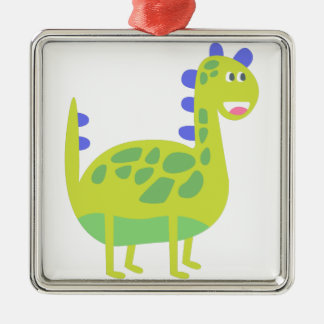 Ornement Carré Argenté Dinosaure vert drôle mignon