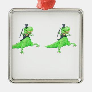 Ornement Carré Argenté Dinosaures de danse