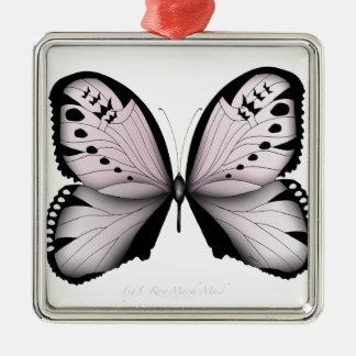 Ornement Carré Argenté Domestique rose de marais de papillon rose