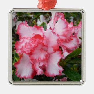 Ornement Carré Argenté Double ressort rouge et blanc d'azalées floral