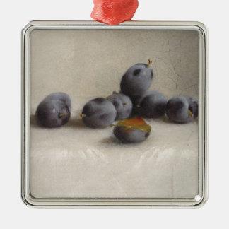 Ornement Carré Argenté Douze prunes