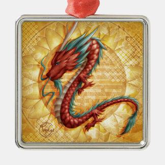 Ornement Carré Argenté Dragon