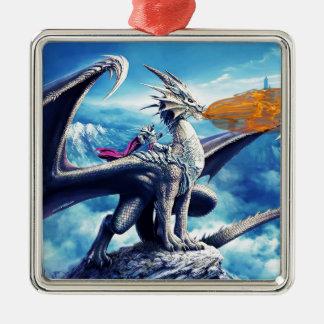 Ornement Carré Argenté dragon2