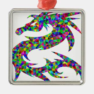 Ornement Carré Argenté dragon coloré