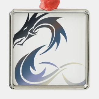 Ornement Carré Argenté Dragon métallique