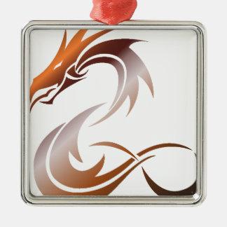 Ornement Carré Argenté Dragon métallique orange