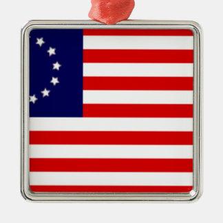 Ornement Carré Argenté Drapeau américain de 13 colonies