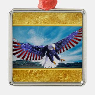 Ornement Carré Argenté Drapeau américain Eagle volant dans la feuille