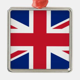 """Ornement Carré Argenté Drapeau BRITANNIQUE """"Union Jack """" du Royaume-Uni"""