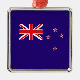 Ornement Carré Argenté Drapeau de la Nouvelle Zélande