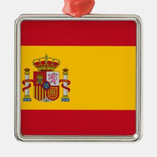 Ornement Carré Argenté Drapeau de l'Espagne - le Bandera de España -