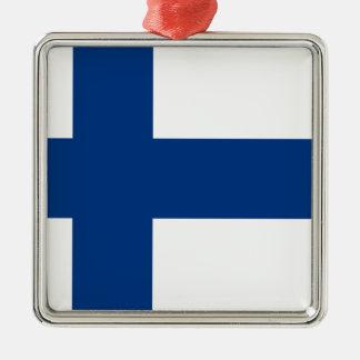 Ornement Carré Argenté Drapeau de lippu de la Finlande - du Suomen -