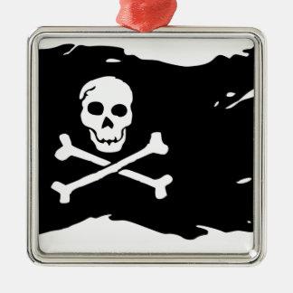 Ornement Carré Argenté Drapeau de pirate