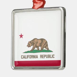 Ornement Carré Argenté Drapeau d'état de la Californie