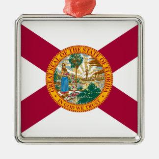 Ornement Carré Argenté Drapeau d'état de la Floride