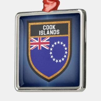Ornement Carré Argenté Drapeau d'îles Cook