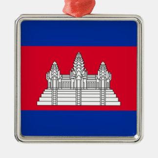 Ornement Carré Argenté Drapeau du Cambodge