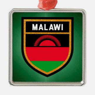 Ornement Carré Argenté Drapeau du Malawi
