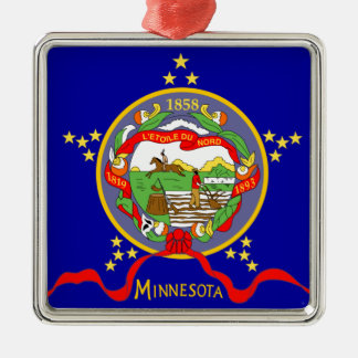 Ornement Carré Argenté Drapeau du Minnesota