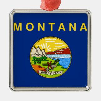Ornement Carré Argenté Drapeau du Montana