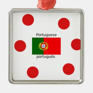 Ornement Carré Argenté Drapeau du Portugal et conception portugaise de