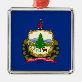 Ornement Carré Argenté Drapeau du Vermont