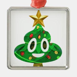 Ornement Carré Argenté Dunette Emoji d'arbre de Noël