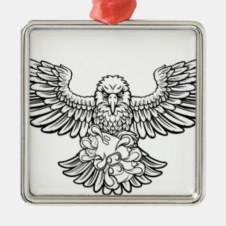 Ornement Carré Argenté Eagle Esports folâtre la mascotte de Gamer