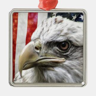 Ornement Carré Argenté Eagle et drapeau