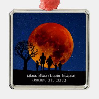 Ornement Carré Argenté Éclipse lunaire 2018 de lune de sang