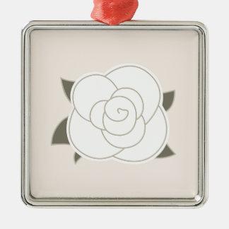 Ornement Carré Argenté Eco de brun de rose de conception