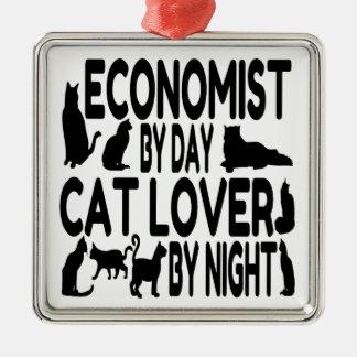 Ornement Carré Argenté Économiste d'amoureux des chats