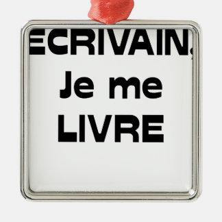 Ornement Carré Argenté ÉCRIVAIN, je me LIVRE - Jeux de Mots