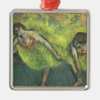 Ornement Carré Argenté Edgar Degas   détente de deux danseurs