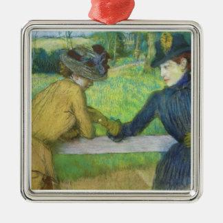 Ornement Carré Argenté Edgar Degas   deux femmes se penchant sur une