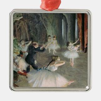 Ornement Carré Argenté Edgar Degas   la répétition du ballet sur l'étape