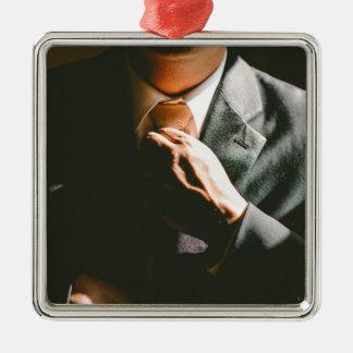 Ornement Carré Argenté Effet d'ombre de cravate d'homme d'affaires de