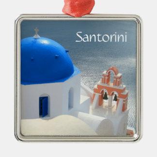 Ornement Carré Argenté Église de Santorini pendant l'après-midi Sun